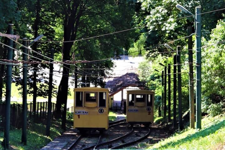 Žaliakalnis Funicular in Kaunas, Lithuania