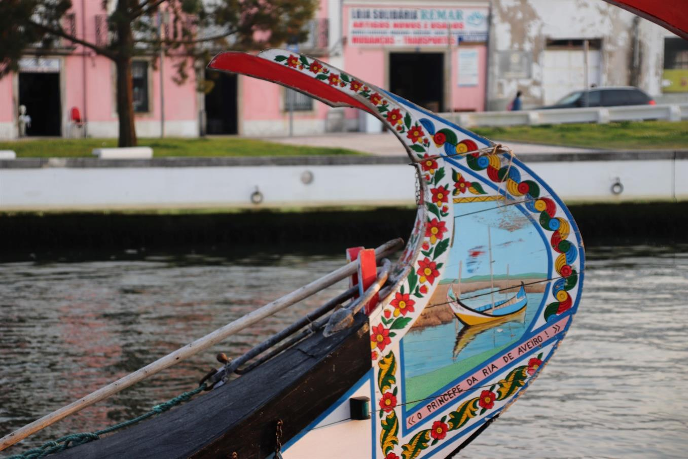 Painted boat in Aveiro, called barco moliceiro - Aveiro day trip