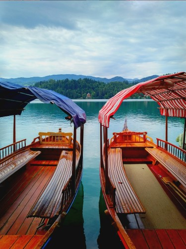 Boats in Lake Bled Slovenia