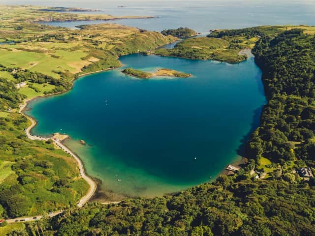 Drone photo of Lough Hyne, County Cork, Ireland