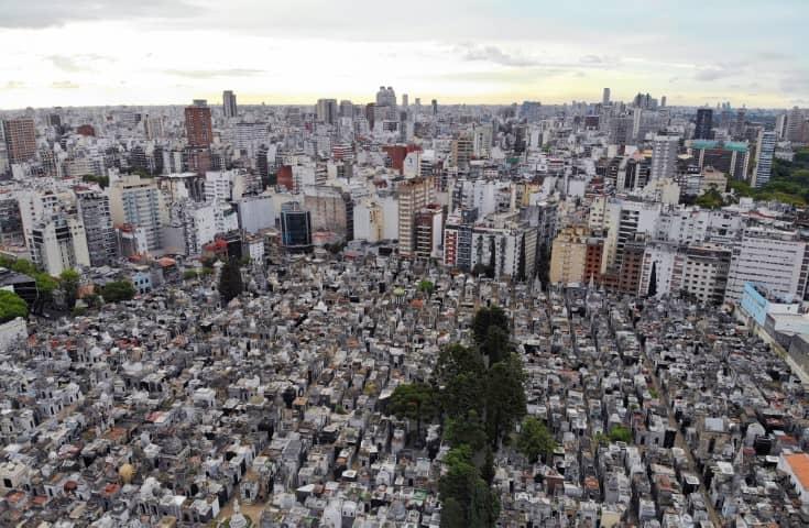 La Recoleta Cemetery Meets Buenos Aires Skyline - Drone photo