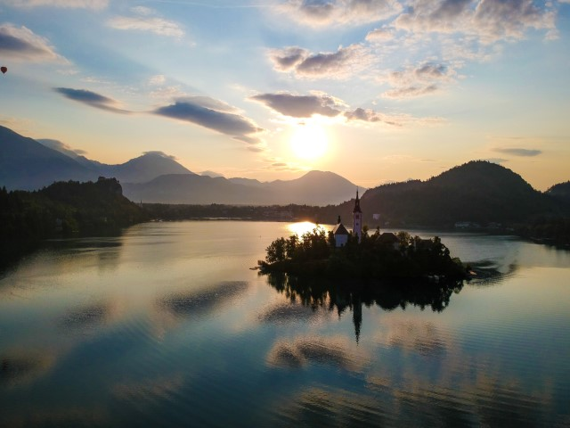 Lake Bled sunrise drone photo