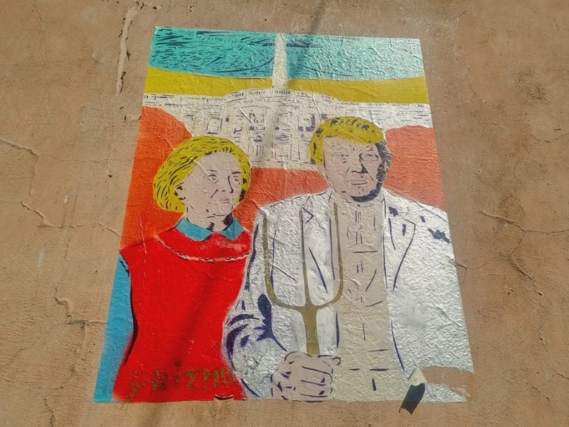 Street Art in Kazimierz - Trump and Hillary