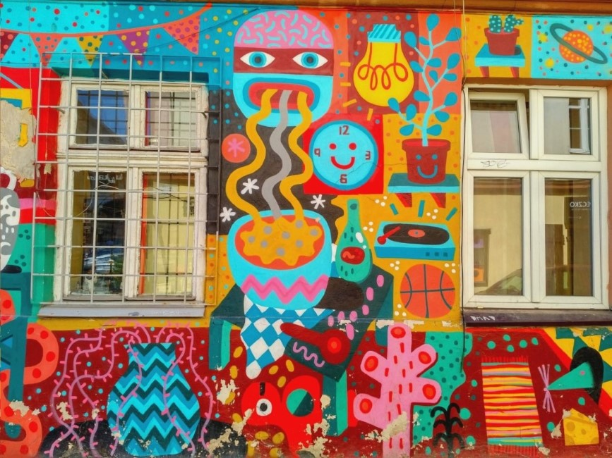 ulica Nowa colourful street art Krakow