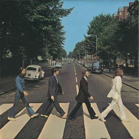 Abbey Road Beatles album cover shot on a famous street in London