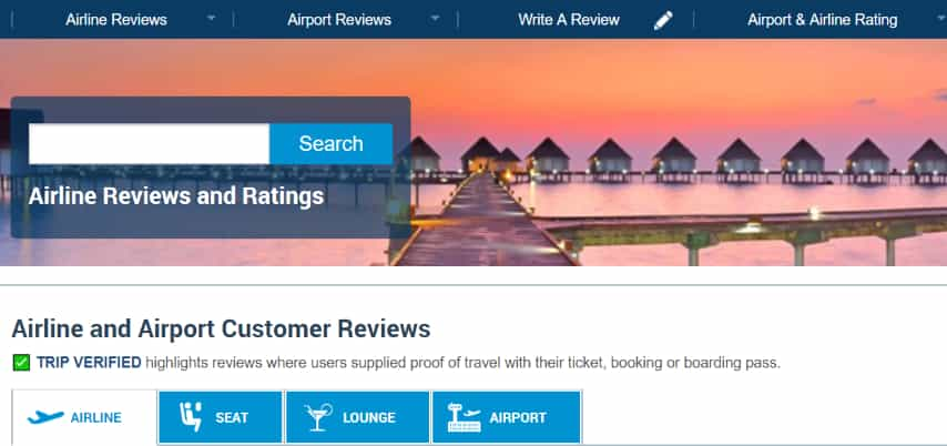 Airline quality review site to check before long flights