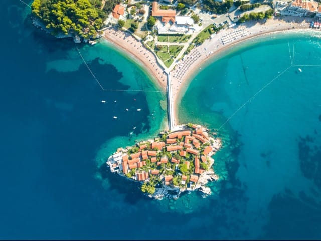 Aman Sveti Stefan from the sky