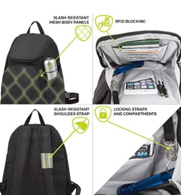 Anti theft bag safety features