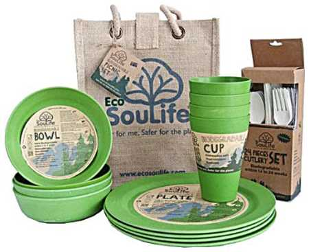EcoSouLife Biodegradable Bamboo Picnic Set