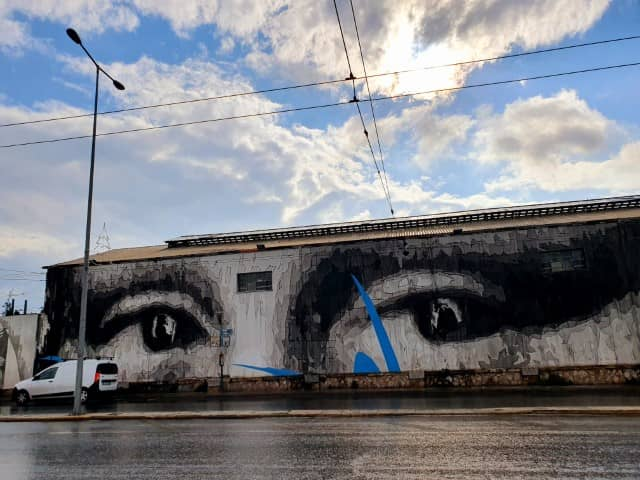 Da Vinci mural in Athens, Greece