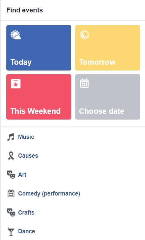 Find events on Facebook - screenshot