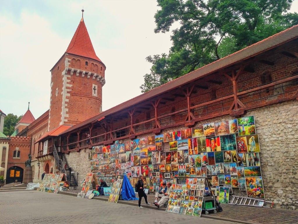 Krakow - Florianska Gate paintings