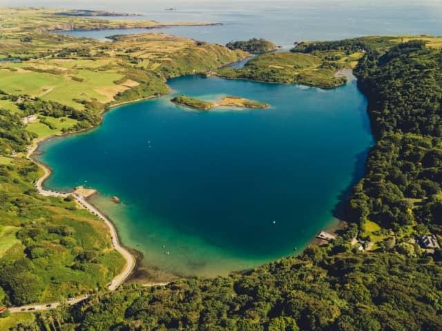 Drone photo of Lough Hyne, County Cork, Ireland