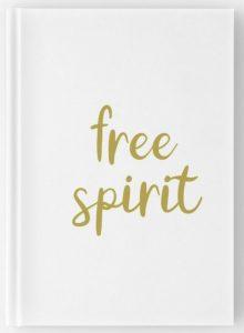 Free Spirit travel notebooks gold hand lettering design