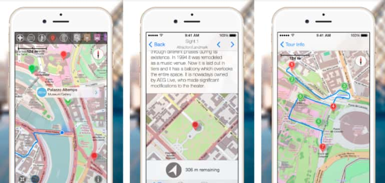 GPSmyCity phone app screens