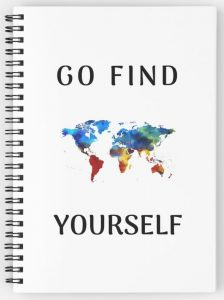 Go find yourself - colourful world map notebook design