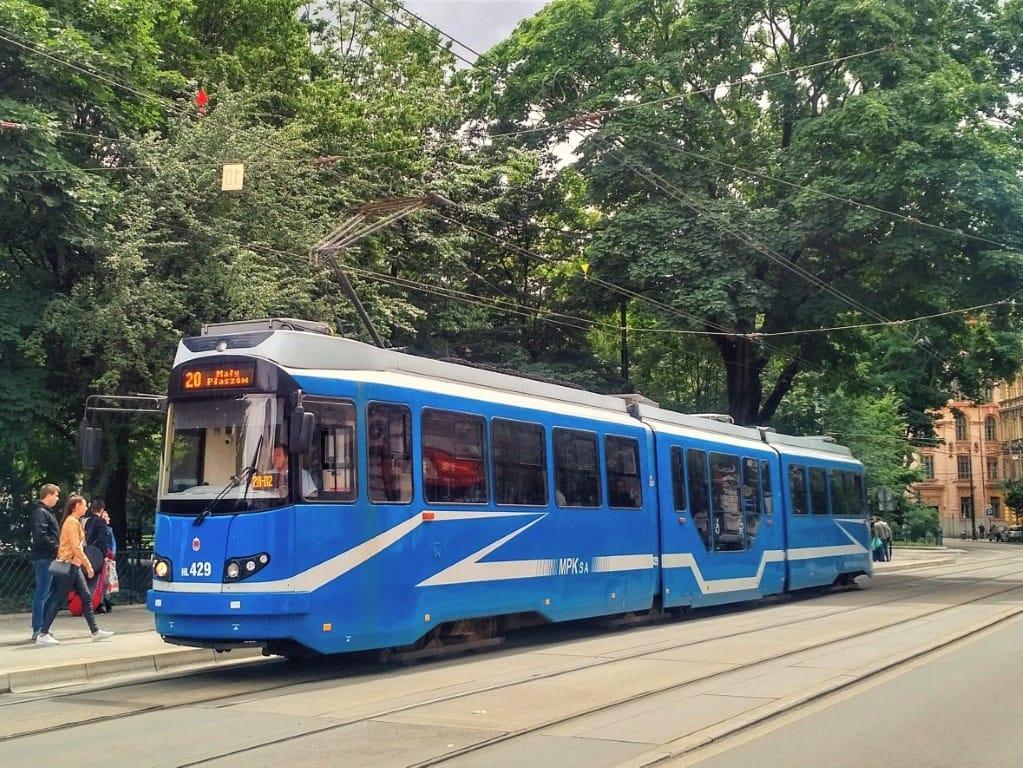 Krakow blue tram