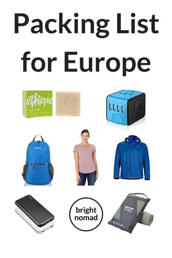 Packing list for European Travel