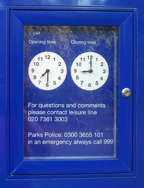 Park opening times in London
