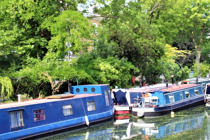 Regents Canal narrowboats along the canal