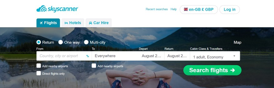 User friendly and flexible flight search on SkyScanner