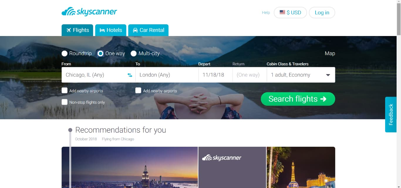 SkyScanner flight search engine screenshot