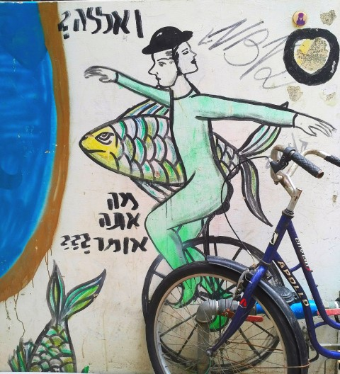 Tel Aviv Street Art Tour - A woman needs a man like a fish needs a bicycle