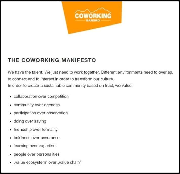 Coworking Bansko Manifesto