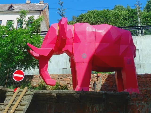 The pink elephant at the Yard Gallery