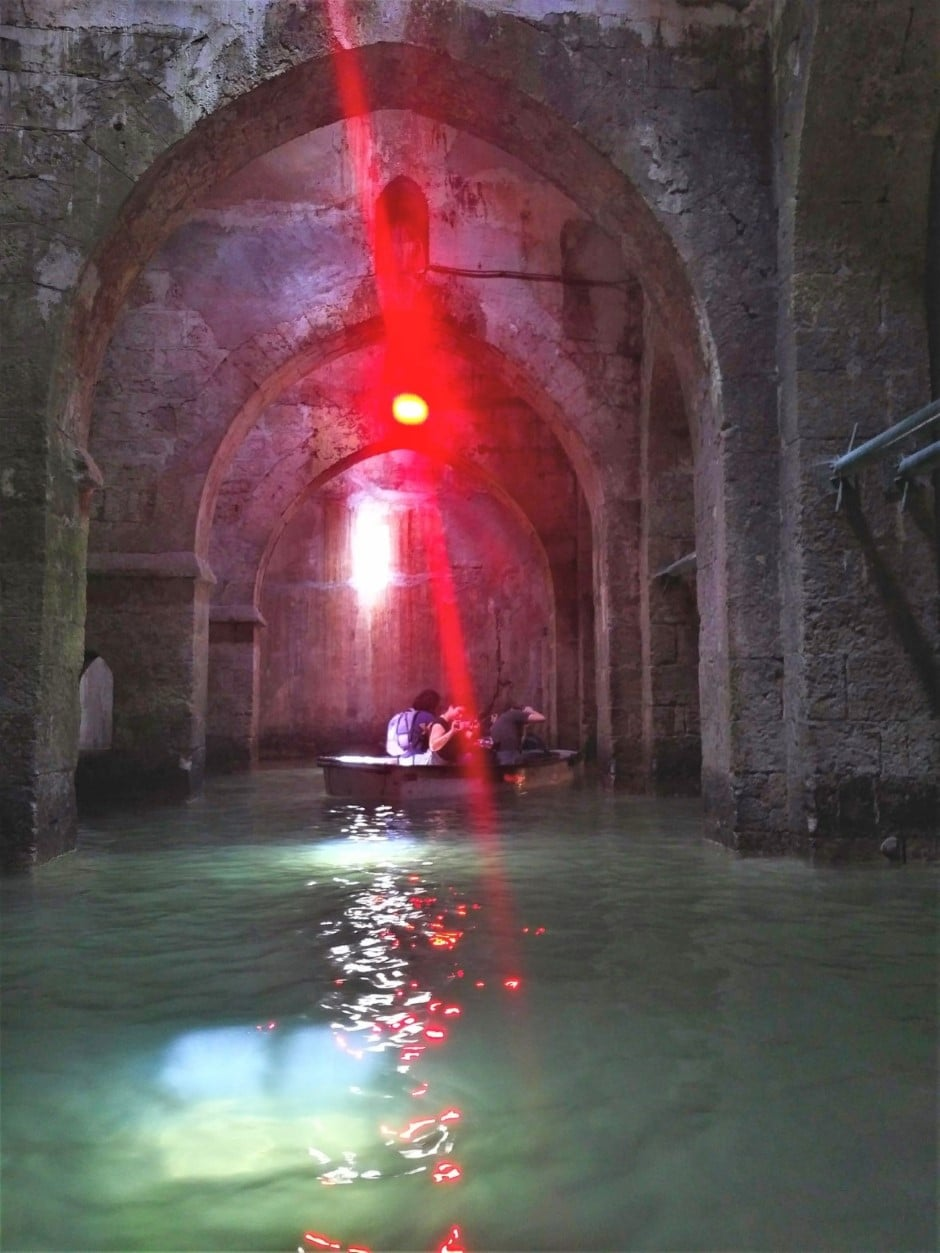 The Pool of Arches in Ramla red lights and reflections