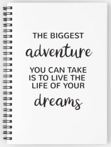 The biggest adventure you can take is to live the life of your dreams - quote notebook