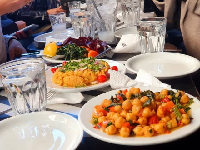 Vegan friendly meze at a Greek taverna
