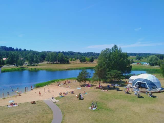 Vytautas Mineral Spa lake on the resort