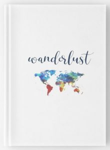 Wanderlust - Colorful world map travel notebook cover