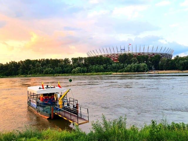 Warsaw Vistula river water tram boat