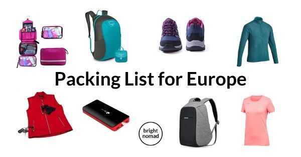 What to pack for Europe - packing list