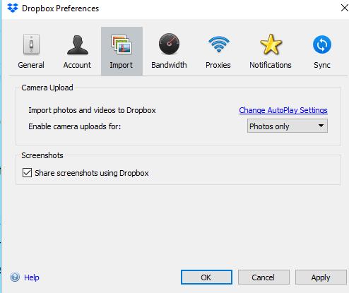 dropbox cloud storage photo backup screenshot