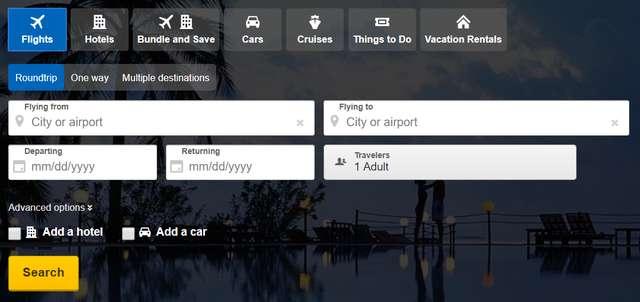 Expedia flight search