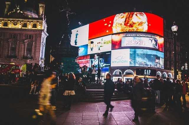 The neon signs in Piccadilly Circus , London
