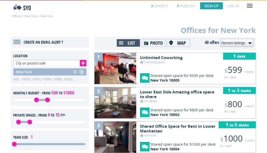 Share Your Office coworking space directory